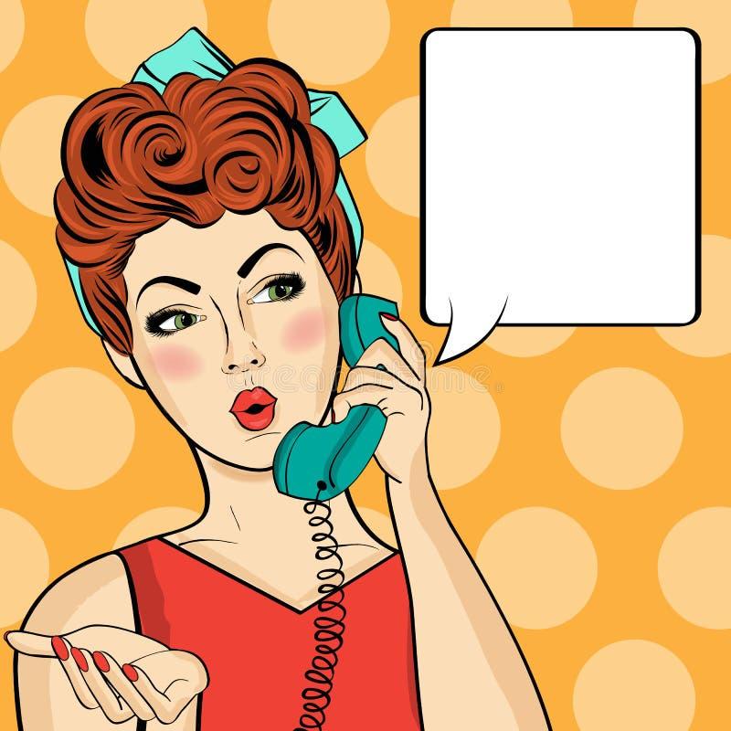 聊天在减速火箭的电话的流行艺术妇女 有讲话的可笑的妇女 向量例证