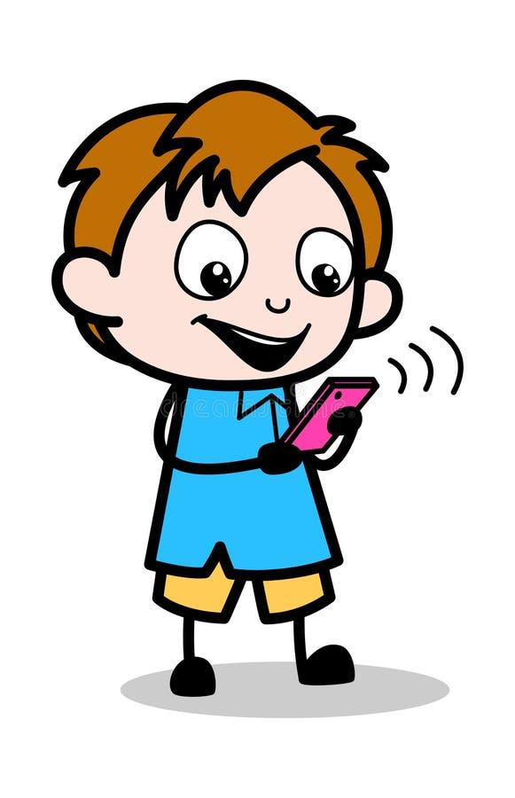 聊天在电话-男生卡通人物传染媒介例证 皇族释放例证