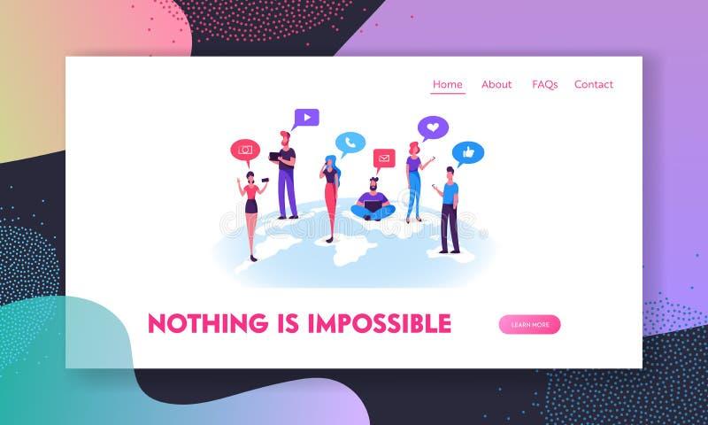 聊天在社会媒介网络网站登陆的页、男人和妇女的人们在网上沟通与移动设备 库存例证