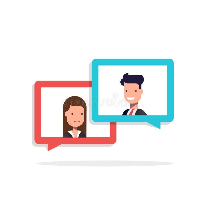聊天在讲话泡影的男人和妇女 商人和女实业家谈话 对话的概念关于企业题材的 库存例证