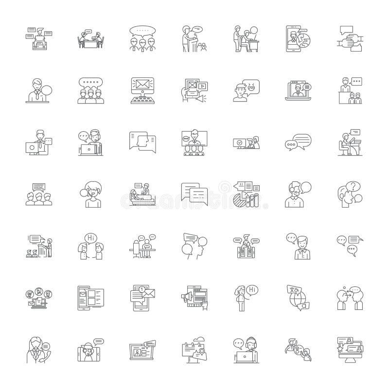 聊天的人线形图标、符号、符号矢量线插图集 库存例证