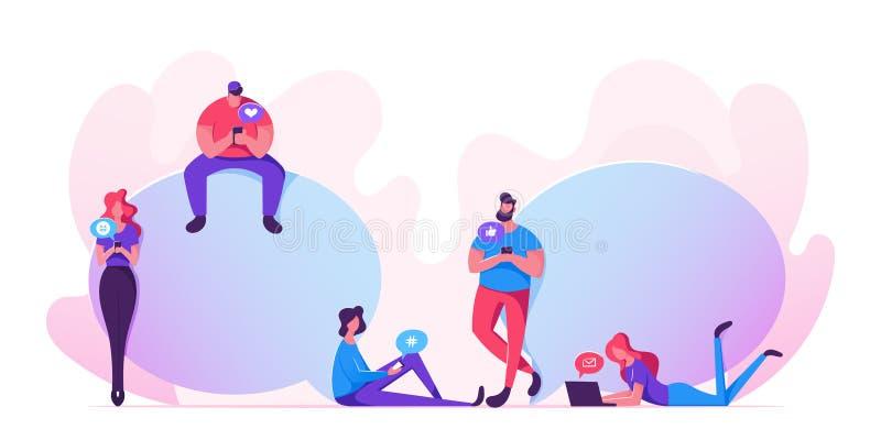 聊天的年轻人和的妇女有智能手机、膝上型计算机和小配件的,发短信,走 使用互联网,沟通的人民拥挤 库存例证