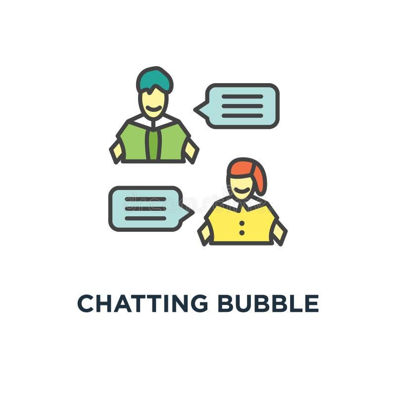 聊天的泡影讲话象 对话或电话留言,人脉概念标志设计,信使,聊天,在网上 库存例证