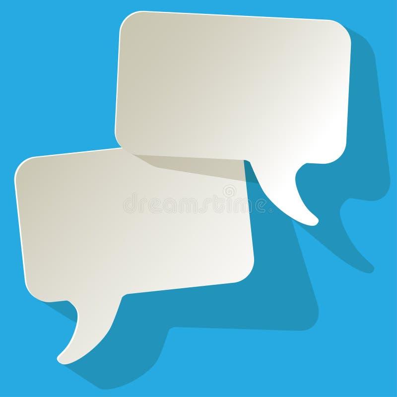 聊天讲话泡影白色自由空间在蓝色背景 向量例证