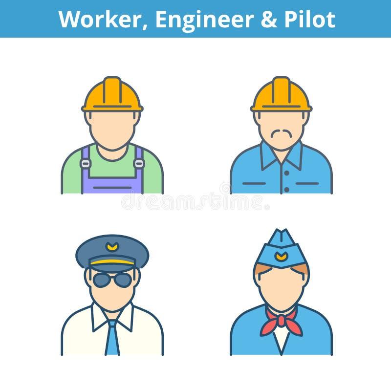 职业五颜六色的具体化被设置:飞行员,空中小姐,工程师, wo 向量例证