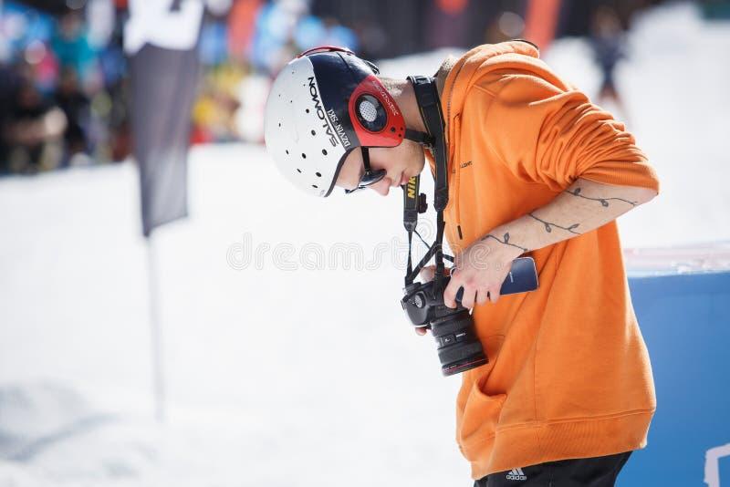职业体育摄影师 库存照片