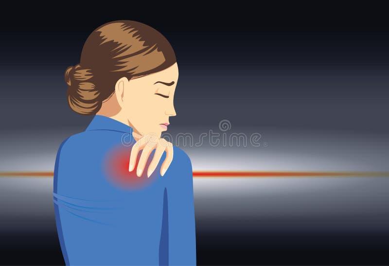 职业妇女有背部疼痛 库存例证