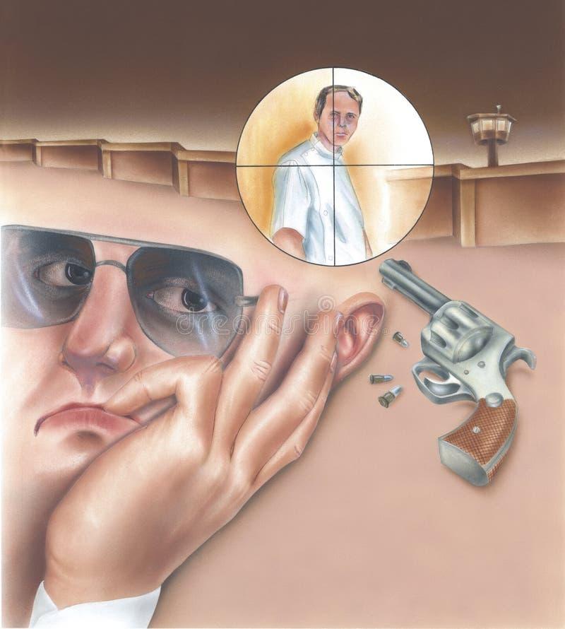 职业杀手和人目标的拼贴画场面 免版税库存照片