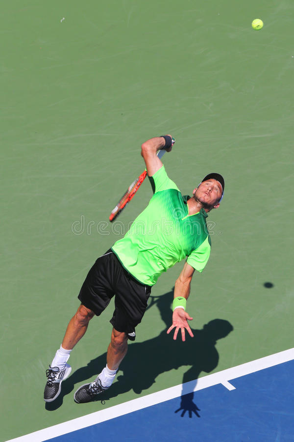 职业网球球员从阿根廷的胡安摩纳哥在美国公开赛2014首先回合比赛期间 库存照片