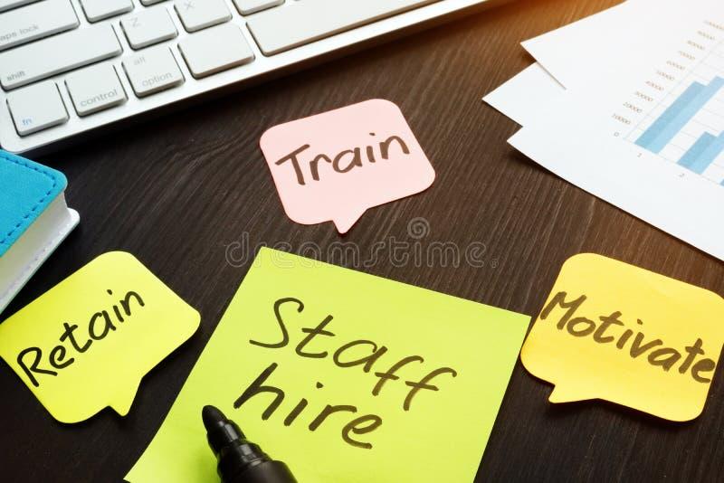 职员聘用,训练,刺激和保留写在备忘录棍子 免版税库存照片