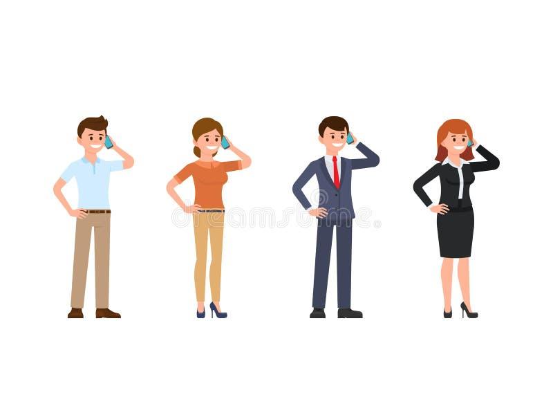 职员谈话在电话动画片字符集 使用机动性的愉快的青年人 库存例证