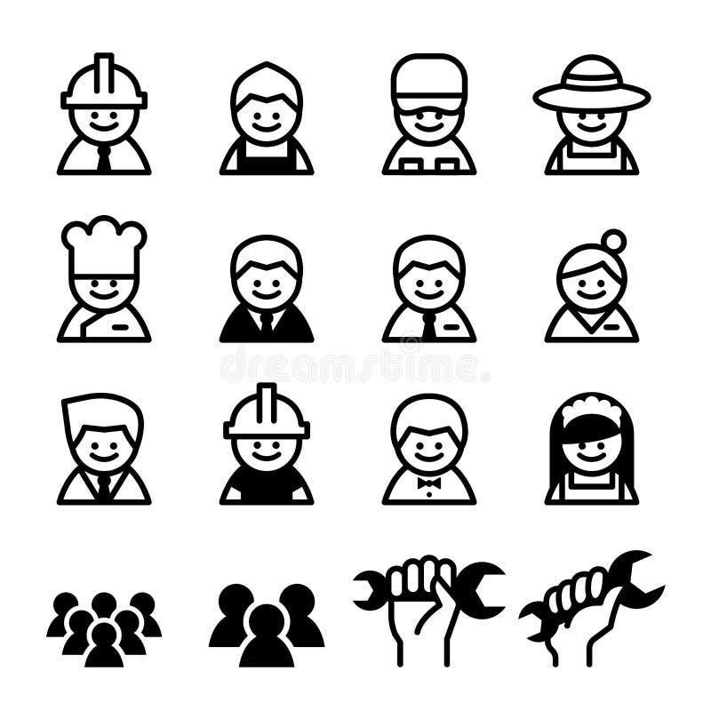 职员,工作,工作者,事业,劳动节象集合 库存例证
