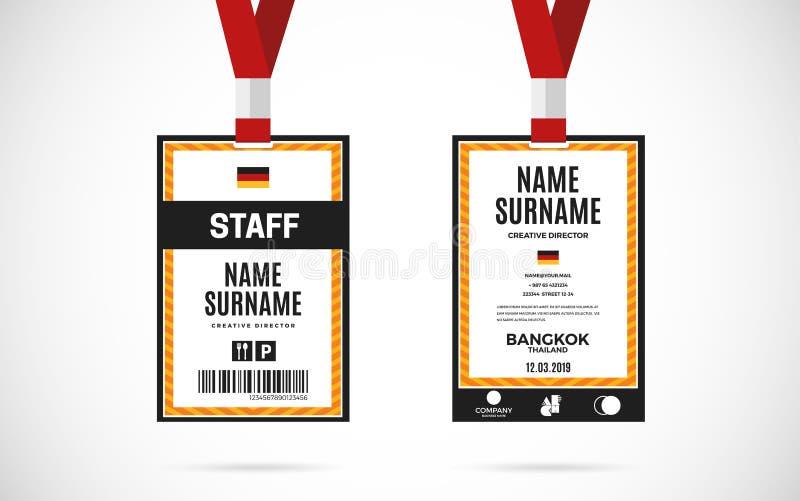 职员id卡集传染媒介设计例证 皇族释放例证