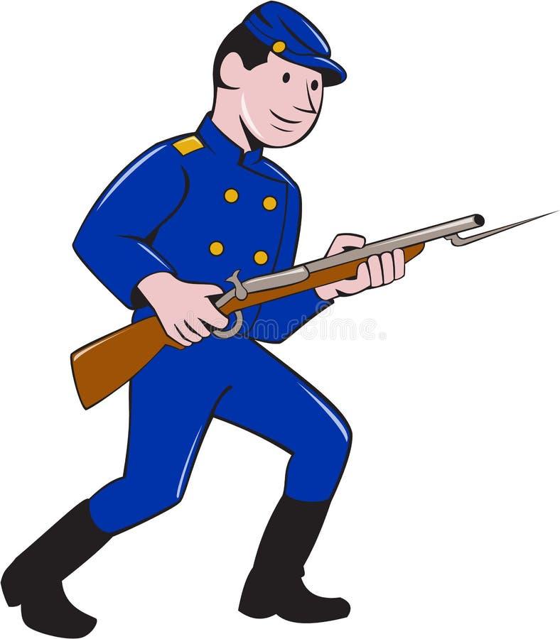 联合军队战士刺刀步枪动画片 库存例证