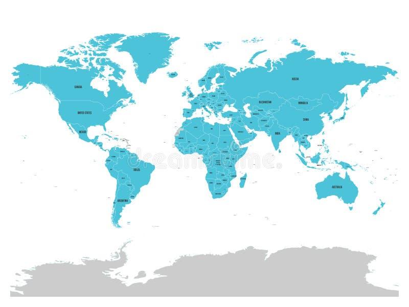 联合国地图以蓝色被突出的会员国 联合国是国际co的一个政府间组织 向量例证