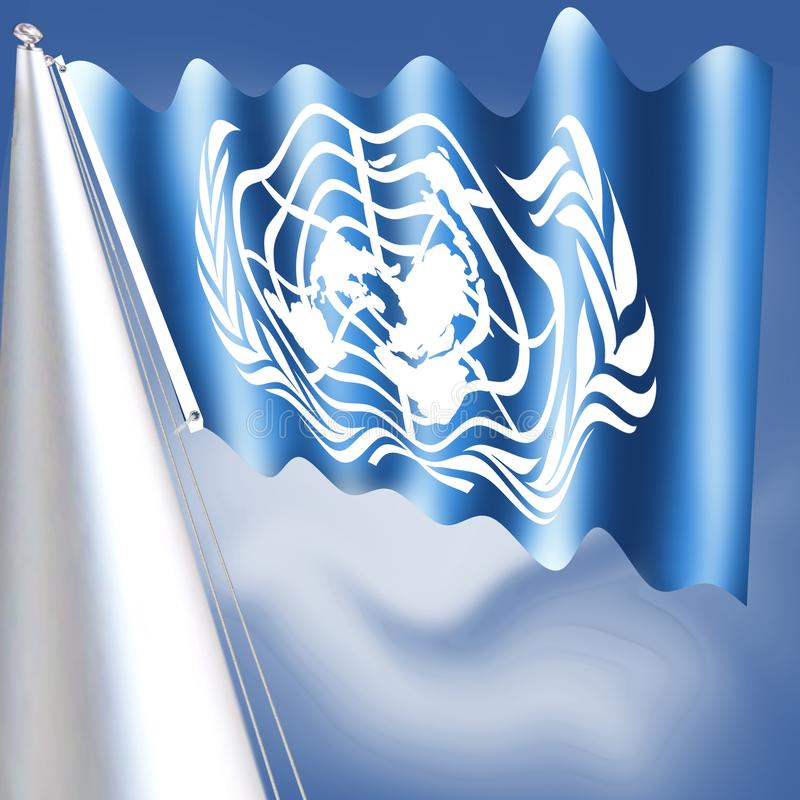联合国的旗子被采取了1946年12月7日,并且包括联合国的正式象征在whitT的 库存例证