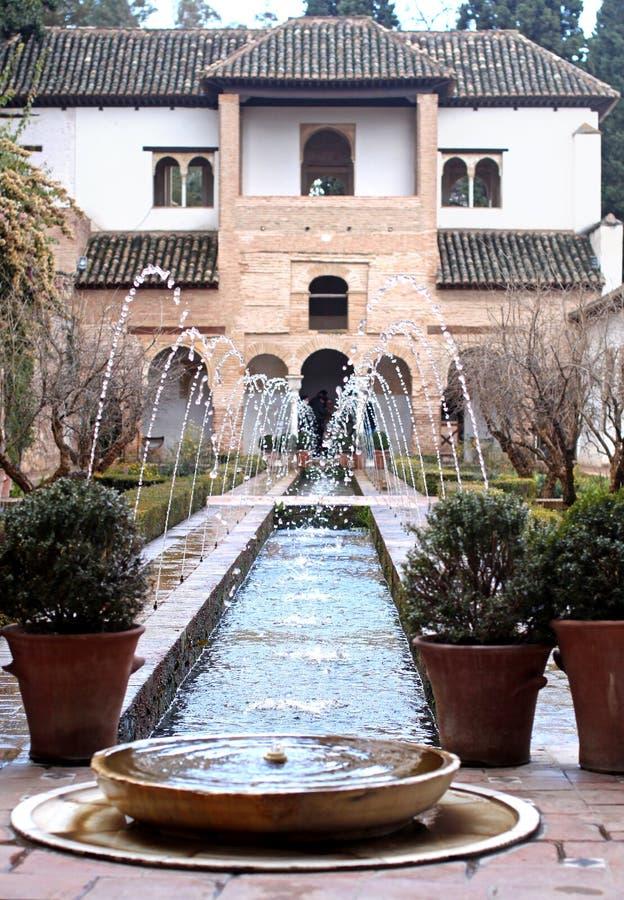 联合国科教文组织:赫内拉利费宫,阿尔罕布拉宫-格拉纳达,西班牙 库存照片