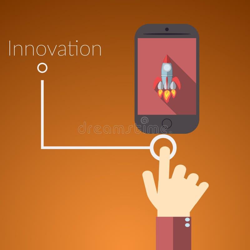 联机服务的平的设计传染媒介例证概念 手感人的巧妙的电话的概念有火箭的,文本标志innovat 库存例证