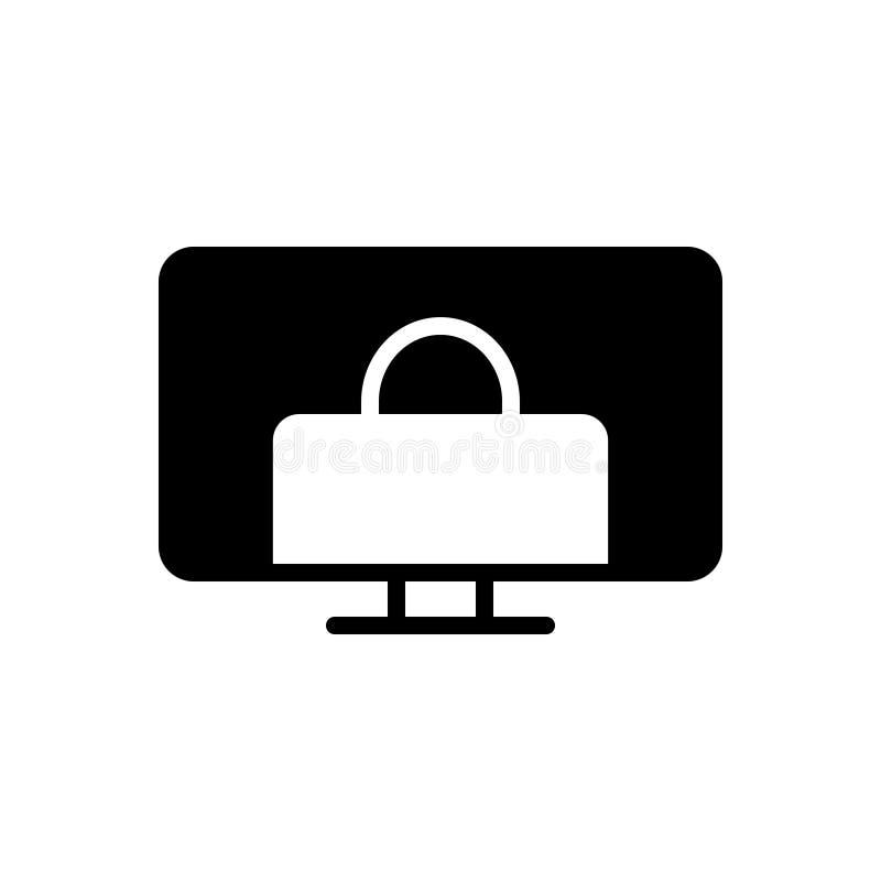 联机服务,电子商务和shooping的黑坚实象 库存例证
