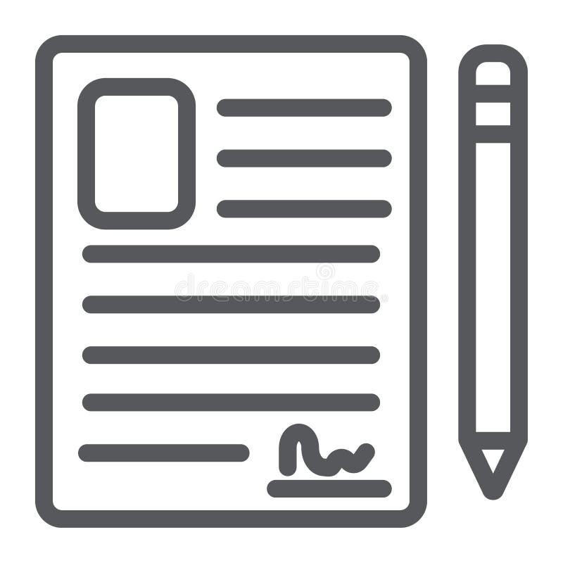 联络形式线象,空白和记数器,文件标志,向量图形,在白色背景的一个线性样式 皇族释放例证