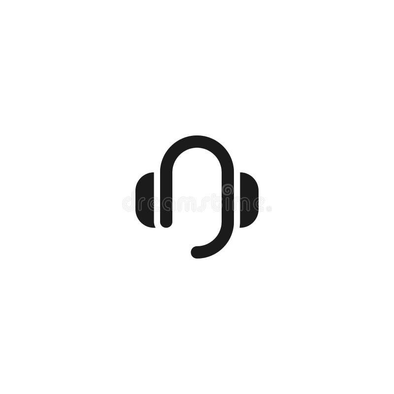 联络支持象设计 有mic标志的耳机 简单的干净的专业业务管理概念传染媒介例证 库存例证