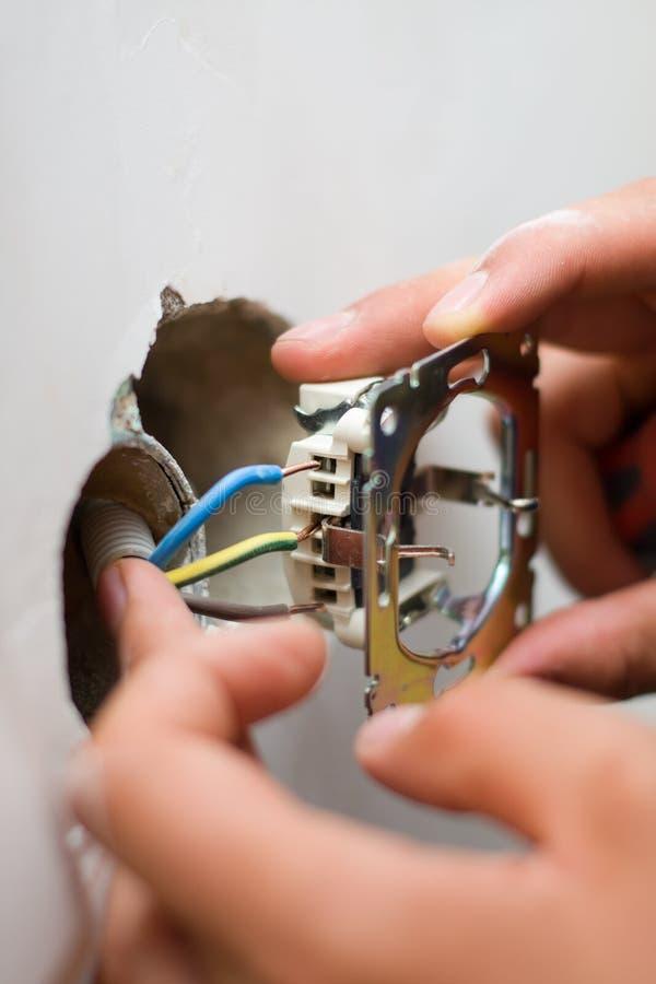 联络电子安装的插件 库存照片