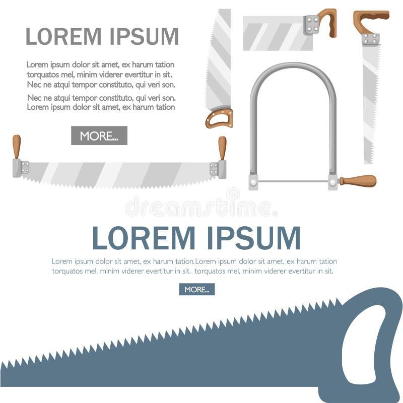 木柄锯 长钢刀横切手锯 木材切削工具 白色的平面插图 向量例证