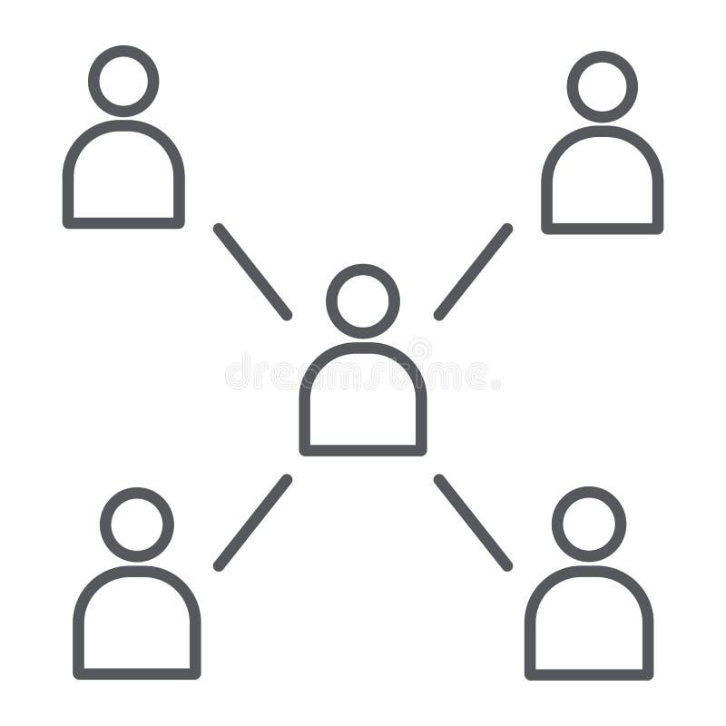 联络稀薄的线象,通信和社区,社会标志,向量图形,在a的一个线性样式的人们 库存例证