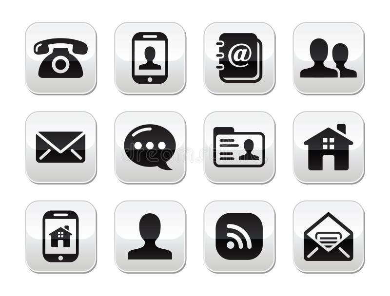 联络黑色按钮设置了-移动电话,电话,电子邮件 库存例证