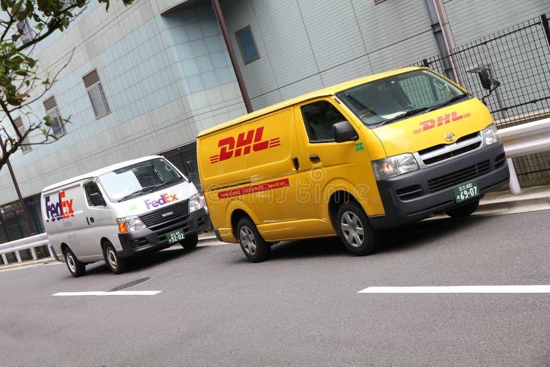 联邦快递公司与敦豪航空货运公司 库存照片