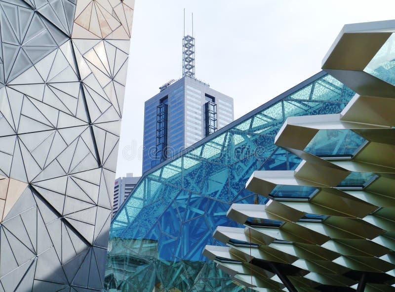 联邦机关广场在墨尔本在澳大利亚 库存照片