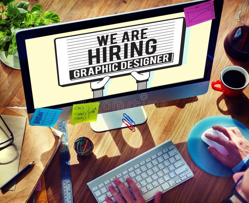 聘用的图表设计师创造性的剪影视觉概念 免版税库存照片