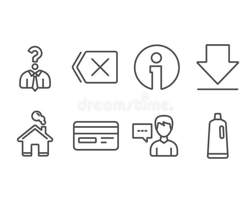 聘用的雇员,人谈话和下载象 信用卡,去除和香波标志 向量例证
