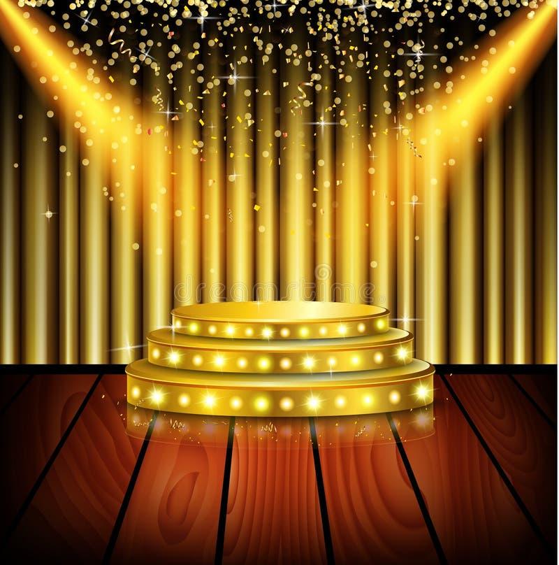 聚光灯发光在舞台背景 向量例证 图片 包括有 闪亮指示 投影 装饰 柱基 装饰品 金子 设计