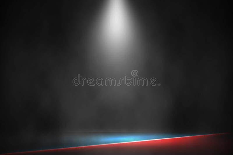 聚光灯把装箱的阶段战斗和比赛红色和蓝色背景,白色灯拳击舞台背景 免版税库存图片