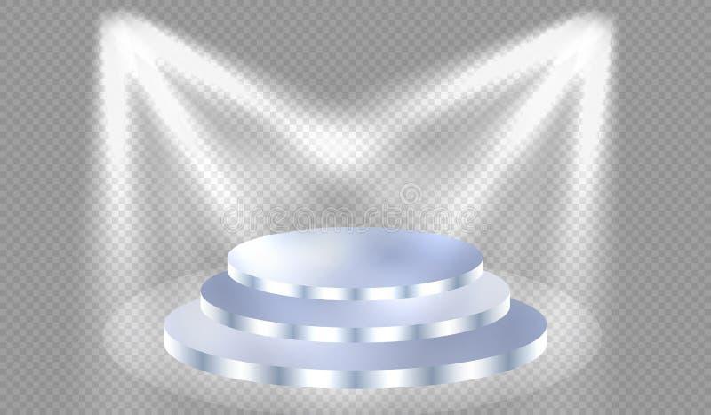 聚光灯照亮有步的蓝色指挥台 向量例证