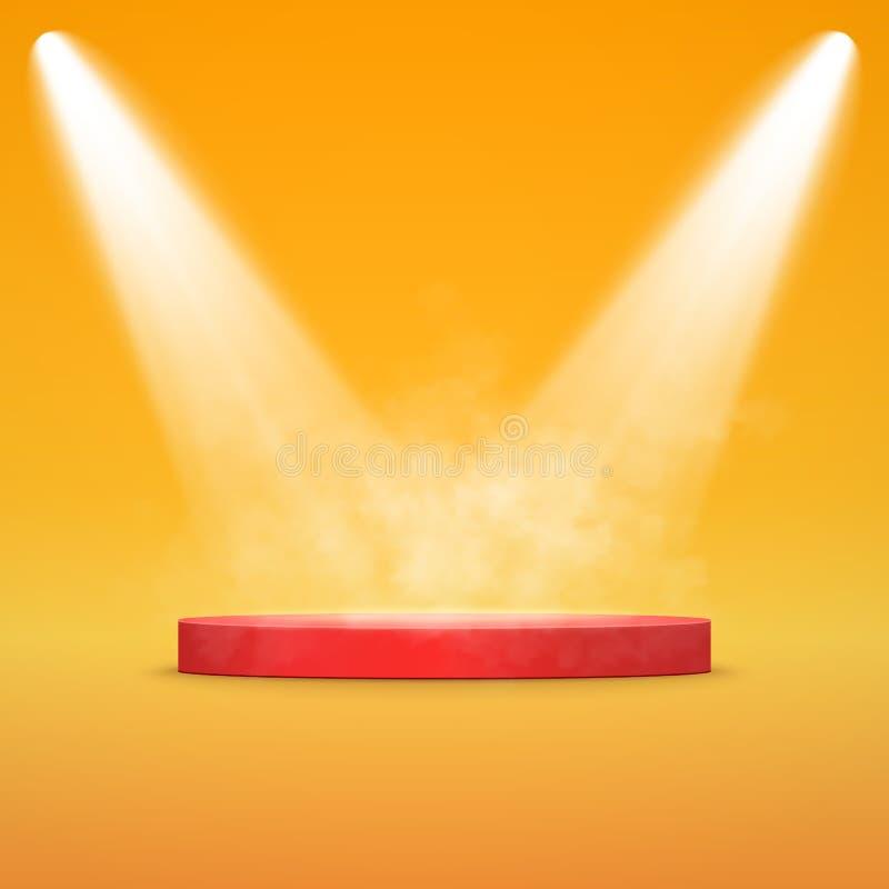 聚光灯照亮的圆的指挥台 传染媒介阶段 库存例证