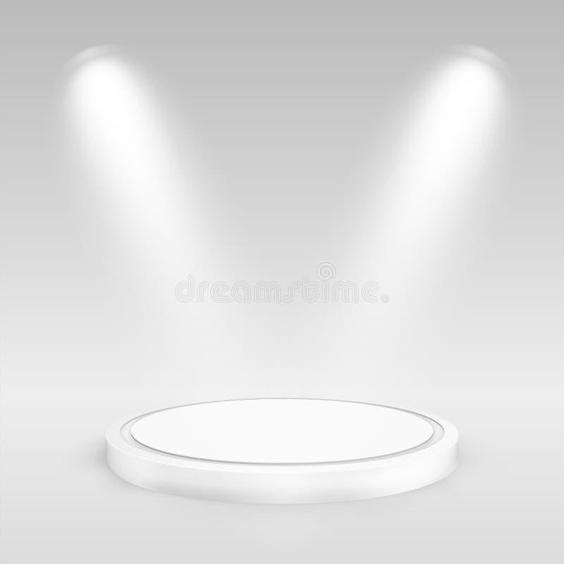 聚光灯照亮的圆的指挥台 皇族释放例证