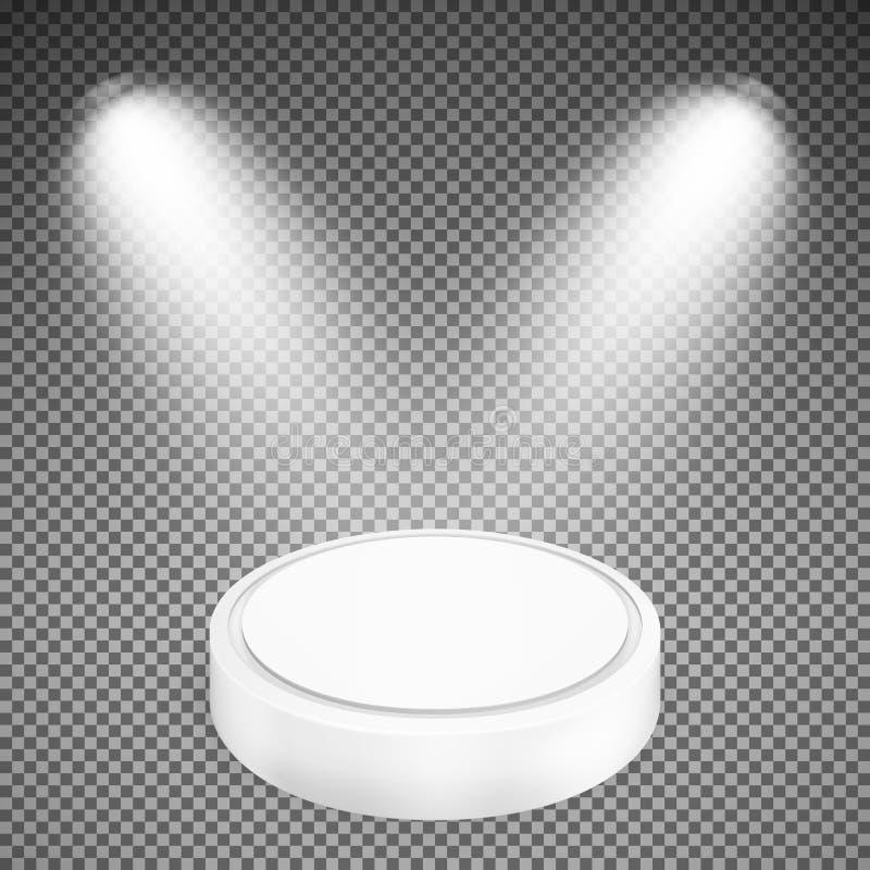 聚光灯照亮的圆的指挥台 库存例证