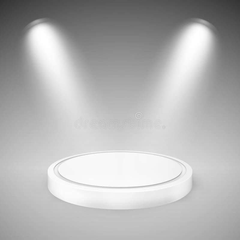 聚光灯照亮的圆的指挥台 向量例证