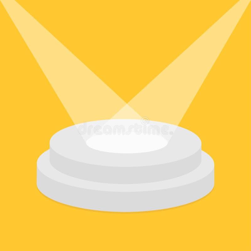 聚光灯照亮的圆的阶段指挥台 空pedistal显示的 向量例证