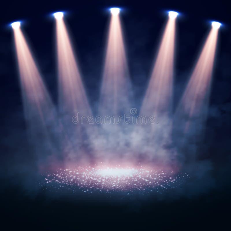 聚光灯阐明的传染媒介阶段 内部放映机发光了 向量例证