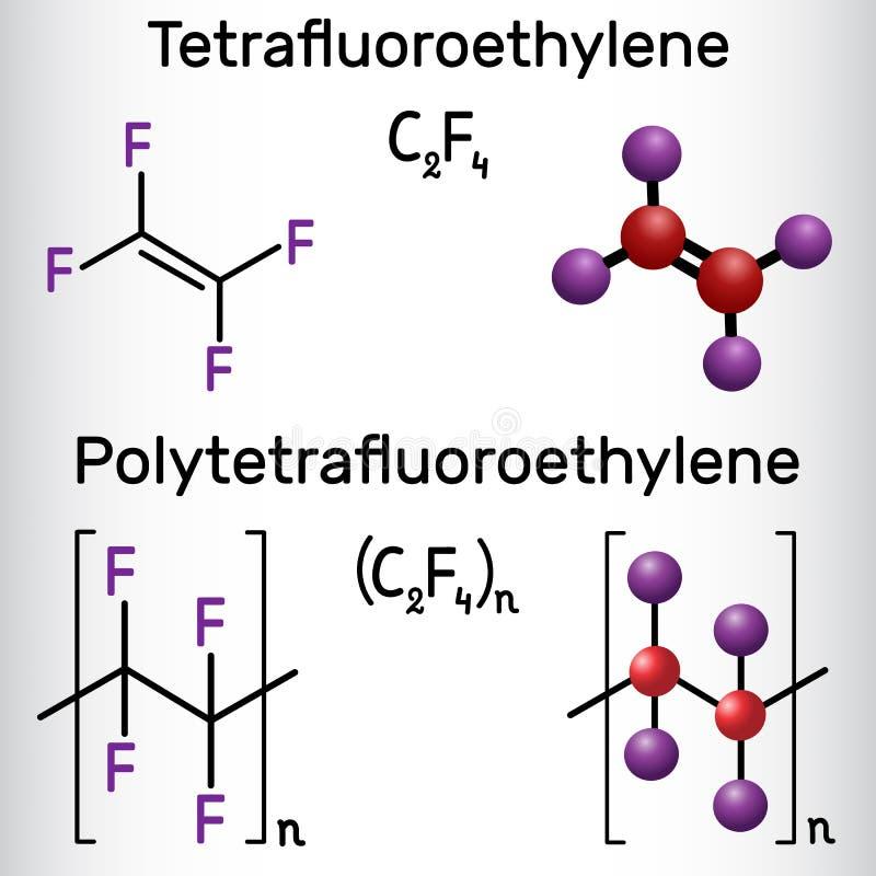 聚四氟乙烯或PTFE、聚四氟乙烯聚合物和四氟乙烯或者TFE分子 结构化学式和分子 皇族释放例证