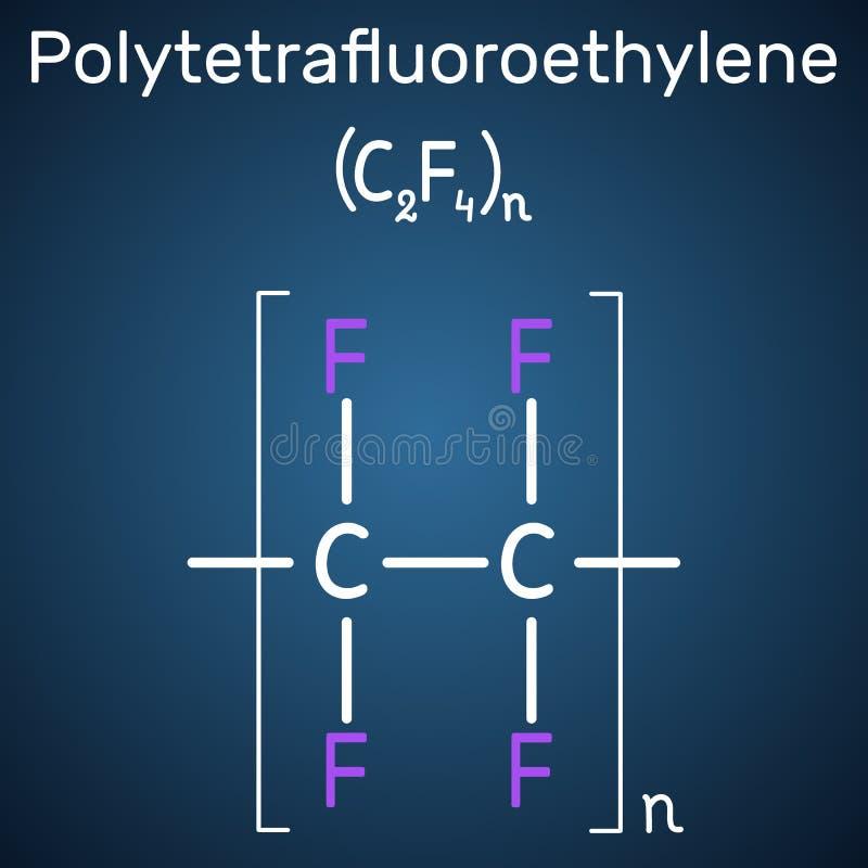 聚四氟乙烯或PTFE,聚四氟乙烯聚合物分子 是四氟乙烯一个综合性含氟聚合物  结构化学制品 向量例证