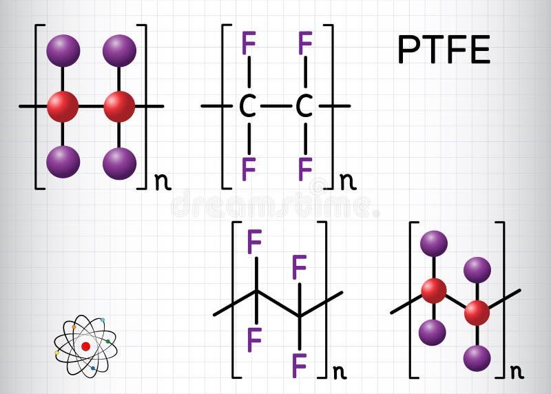 聚四氟乙烯或PTFE,聚四氟乙烯聚合物分子 是四氟乙烯一个综合性含氟聚合物  结构化学制品 皇族释放例证