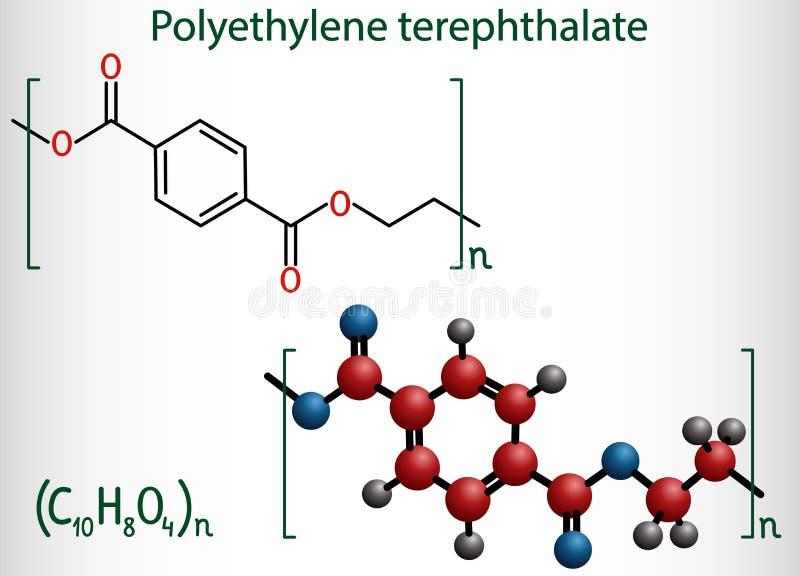 聚对酞酸乙二酯或宠物,皮特聚酯,热塑性塑料的聚合物分子 r 库存例证