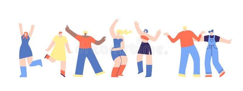 聚成棍棒状一团跳舞的人平的迪斯科费斯特动画片 库存例证