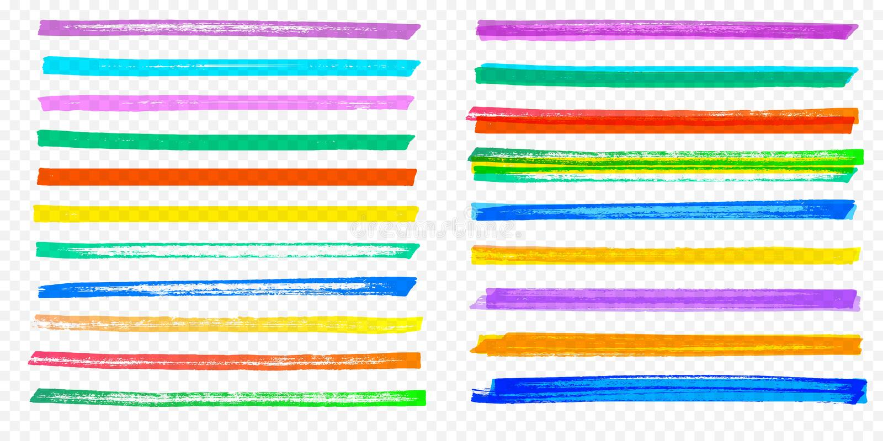 聚焦刷子冲程集合传染媒介颜色记号笔排行透明背景 库存例证