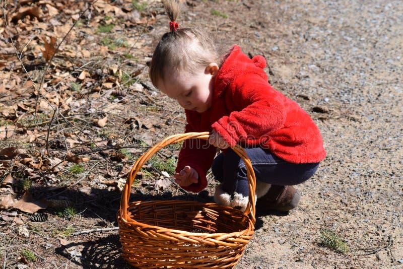 聚集对篮子的小孩女孩 图库摄影