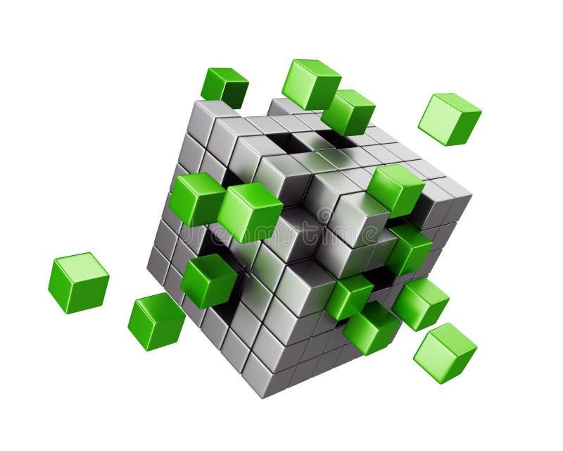 聚集的立方体结构 向量例证